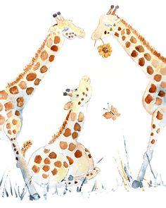 Nursery art print, Giraffe Painting, Baby's Wall Art, baby animal, jungle theme nursery, Neutral gender decor - Higher Love, Sweet Fluffs. $16.00, via Etsy.