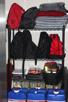 In Case of Emergency...keep a shelf in your garage with 72 hour kits...more