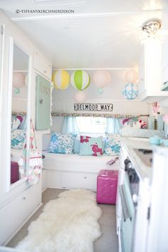 inside the cotton candy striped airstream