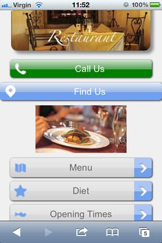 An example of an Italian restaurant mobile website design. =>  Design your mobile website with maximum conversion in mind. As a restaurant owner your objective should be to get potential customers to engage with you by either phoning or perhaps emailing you for a reservation, or actually going to your restaurant to dine. It's important that you make it easy for mobile users to do just that.