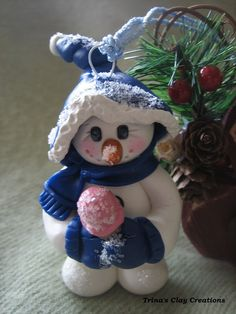 Polymer Clay Snowman Christmas Ornament by Trina's Clay Creations