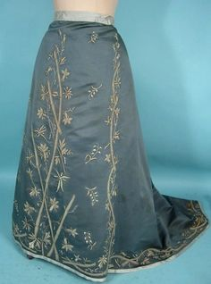 c. 1880-1900 Cornflower Blue Silk Faille Embroidered Trained Skirt