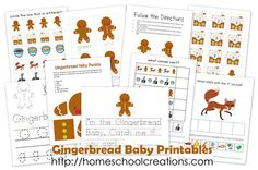 Gingerbread printables that can be used with the book Gingerbread Baby by Jan Brett.