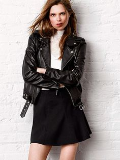 A moto jacket is perfect for edging up a flirty look. // Victoria's Secret Leather Jacket