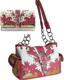 Pink Western Buckle Cowgirl Style Purse W Matching Wallet In Stock: $56.99