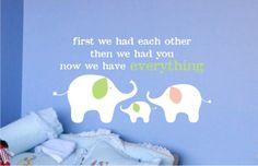 Childrens Decor Elephant Family Vinyl Lettering - Vinyl Wall Art - Vinyl Decal -Great for a baby boy or girl nursery or toddler's bedroom. $18.00, via Etsy.