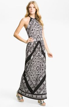 MICHAEL Michael Kors Leather Halter Maxi Dress available at #Nordstrom