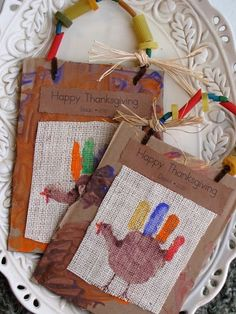 VERDICT: Fun & Cute. We did not do ties for the top because of time constraints and we used colored paper not burlap. Still...nice! Thanksgiving craft...we wrote what we were thankful for on each feather/finger. Kindergarten Art Project.