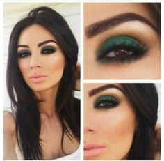 Green eyeshadow for brown eyes  Love w/ the pink lipstick and bronzer