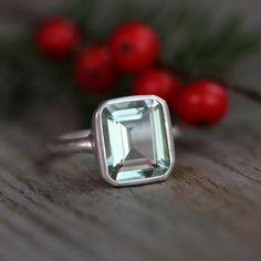 Green Amethyst Emerald Cut Gemstone Ring