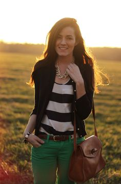 Green colored jeans/skinnes, black and white striped top, black cardigan, chunky chain necklace