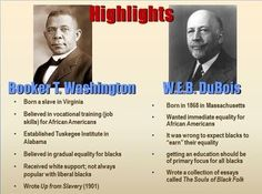 a comparison of attitudes of booker t washington and web du bois Booker t washington (1856-1915) advocated the pragmatic atlanta compromise which placated the white establishment in return for funding and support for historically black colleges and universities and economic opportunities.