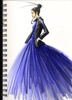 Fashion Sketch in Blue