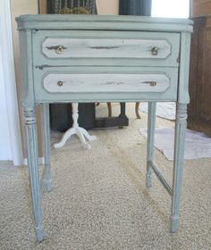 Sewing Machine Table refinished- I've got an old ugly one, have to do this! decor, distress furnitur, sewing table repurpose, sewing cabinet redo, machin tabl, furnitur redo, sew machin, diy, old sewing machines