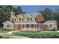 Home Plans HOMEPW03341 - 2,034 Square Feet, 4 Bedroom 2 Bathroom Farmhouse Home with 2 Garage Bays
