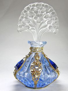Czech Jeweled Perfume Bottle Blue with Flower Stopper