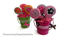 Washcloth Lollipop Pail - Unique Baby Shower Gifts by BabyBinkz  - use Coupon Code PIN10 for 10% off any order!