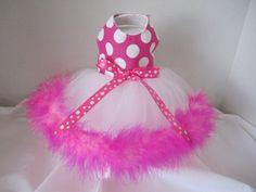 Dog Dress XXS   Pink Tutu with boa    By by NinasCoutureCloset, $30.00