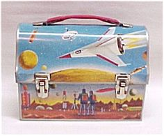 Astronaut Dome Lunch Box Thermos Vintage Metal Lunchbox
