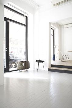 white painted wood floors