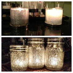 Bath and body work candles 1$ for glitter. Old bath and body works candles & clear Elmer's glue!