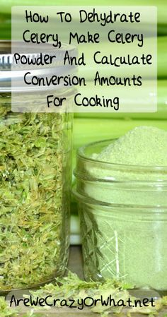 Step by step directions for dehydrating celery, making celery powder and calculating conversion amounts for cooking with dehydrated food. #beselfreliant