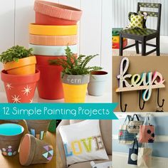 12 easy painting projects! Perfect for beginners, even if you've never picked up a paint brush.