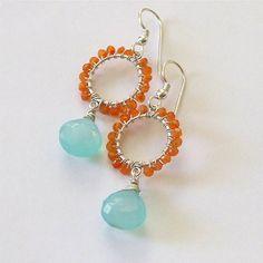 Orange & Aqua Earrings $35.00