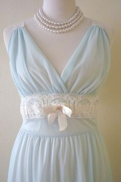 Gorgeous 1960's Baby Blue Lacy Long Nightgown