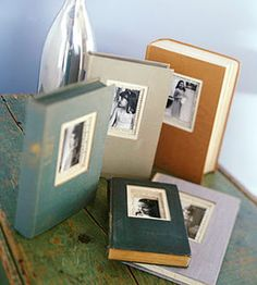 DIY photo albums -- using old books. A great vintage-y look!