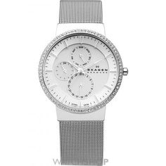 must have! shop, skagen watch, tone accent, gold tone, mesh band, swarovski crystals, rosegold watch, stainless steel, tone mesh