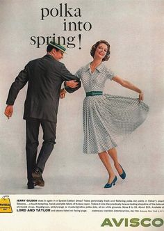 Polka into Spring! Avisco advertisement, April 1959.