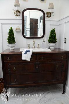 Master Bathroom Details Reveal - Miss Mustard Seed dresser vanity bathroom, old dressers, dresser turn, vintage bathroom vanities, bathroom remodel, master bathrooms, mustard seeds, vintage bathroom decor ideas, vintag dresser