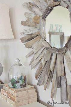 driftwood mirror, mirrors, diy driftwood, craft, decor style, beach house summer decor, creativ idea, espejo, deco idea