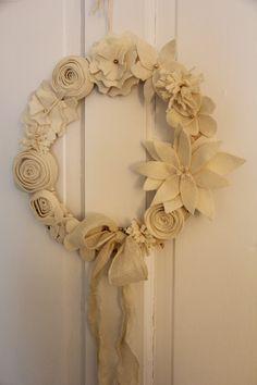 Soft white felt flower wreath.../
