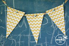 Chevron banner printables to make your own white and yellow chevron garland!  #party #babyshower #birthday #printables