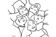 Ask the group to form a circle while lying in the grass outdoors or on the ground indoors while you shoot from above.