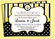 bumbl bee, bee babi, shower invitations, bumble bees, bday idea