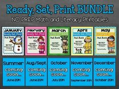 Looking for no prep, engaging activities to last you throughout the entire school year? These Common Core aligned math and literacy printables can be used in a variety of ways- morning work, math or literacy stations, homework, sub plans, etc.! Just click, print, and you're ready to go!