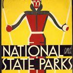freevintageposters.com National and State Parks, Skiing, Skating, Sliding, Sleighing - Vintage National Park Sports Printable Poster