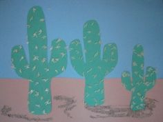Cactus craft using construction paper, sand, and rice