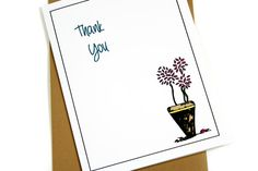Thank You Card with Pink Roses in Blue Vase.  by TheNestedTurtle, $4.00