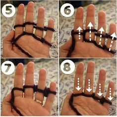 """Finger Knitting - easy for kids and adults!  Step by step instructions with pictures and video.  """"Lines Across"""": Finger Knitting Tutorial"""