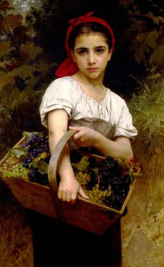 Bougereau The Grape Picker. houses, williamadolphebouguereau, william adolphe bouguereau, painting art, grape picker, artist, paintings, william bouguereau, williamadolph bouguereau