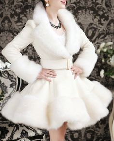 55% OFF for Elegant Turn-Down Collar Faux Fur Embellished Long Sleeve Women's White Ruffle Coat