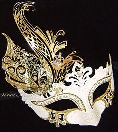 Greek Goddess Costume Mask -  Gold Leaf and White Masquerade Mask with Sparking Rhinestones and Gold Glitter - Toga Dress, Costume, Mask
