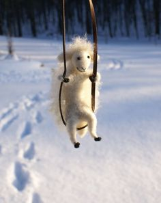Tiny sheep needle felted necklace by motleymutton
