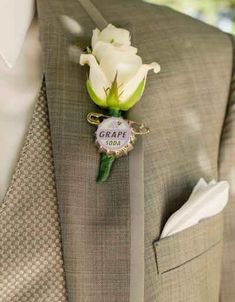 This just might have to happen. Not necessarily with grape soda press but bottlecaps in general. boutonnier, disney magic, lapel pins, soda bottles, vineyard wedding, themed weddings, grape juice, special people, disney weddings