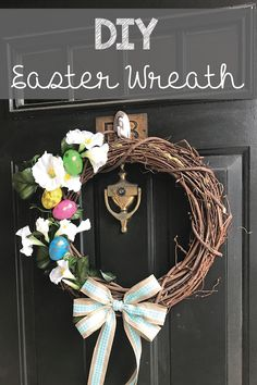 DIY easter wreath, marbled eggs, flowers, bow