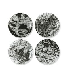 Appetizer Plates, Set of 4. Tattoo-inspired pieces include snake, owl, bat, and skull.